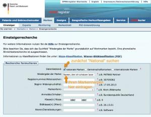 Markennamen im DPMA-Register suchen