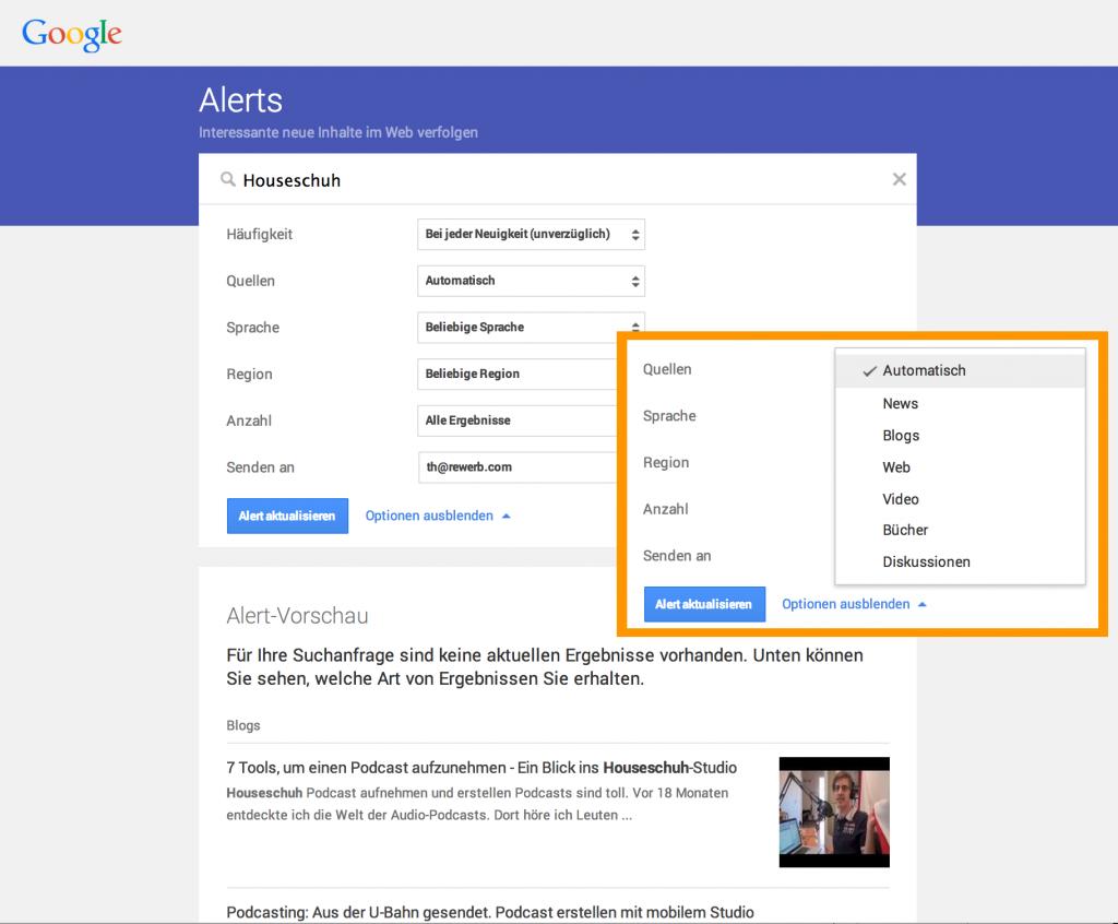 Markenüberwachung, automisch mit Google Alerts
